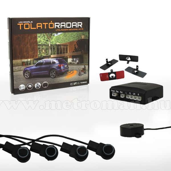 """Tolatóradar és Tolatókamera szett 5"""" LCD monitorral GE-9950-BLACK-SZETTA"""
