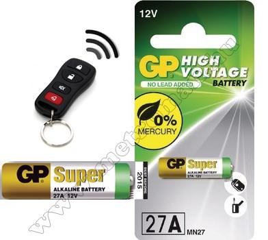 Autóriasztó elem távirányítóhoz 12 V GP 27A