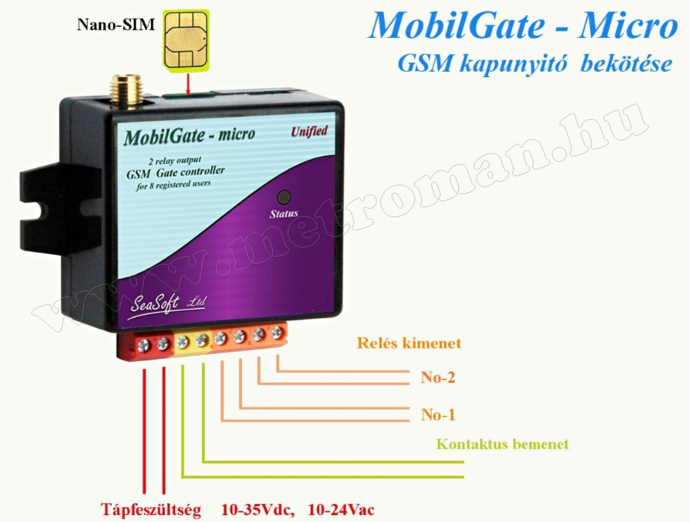 GSM kapunyitó távirányító MobilGate-Micro-A