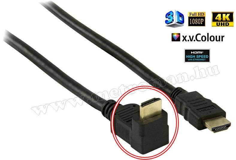 Nagysebességű HDMI kábel, aranyozott, 90 fokos sarokcsatlakozós, 1,5 méter