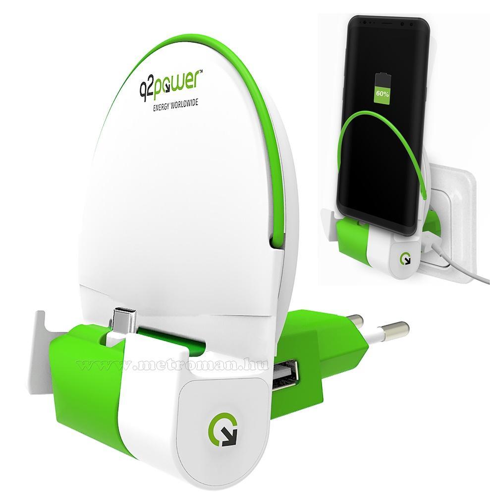 Hálózati USB-C telefontöltő és fali tartó Q2 Power