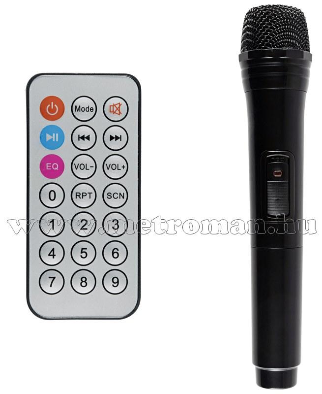 Hordozható Karaoke szett USB/SD/Bluetooth MP3 lejátszóval, vezeték nélküli mikrofonnal , PAB 25