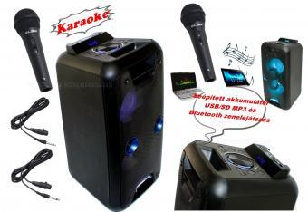 Hordozható USB SD MP3 Bluetooth zenelejátszó Karaoke szett két mikrofonnal PAR220BT-PRM-205