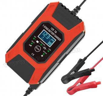 Intelligens automata akkumulátor töltő, csepptöltő 12 Volt 7 Amper FOXSUR FBC1207D