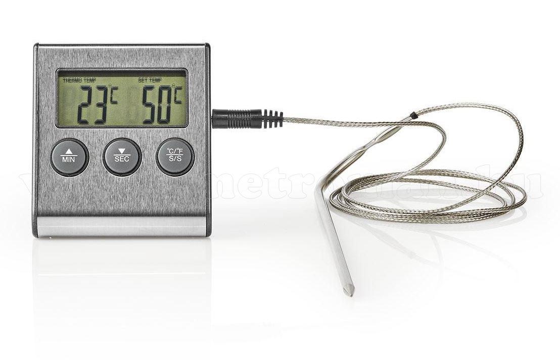 Digitális LCD hőmérő műszer 0 - + 250 °C és időzítő óra KATH104SS