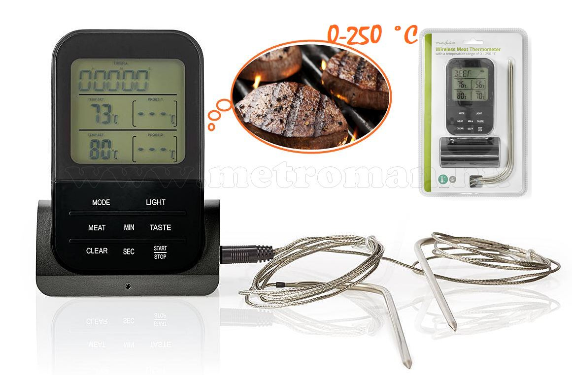 Vezeték nélküli hús hőmérő maghőmérő 0–250 °C  KATH107GY