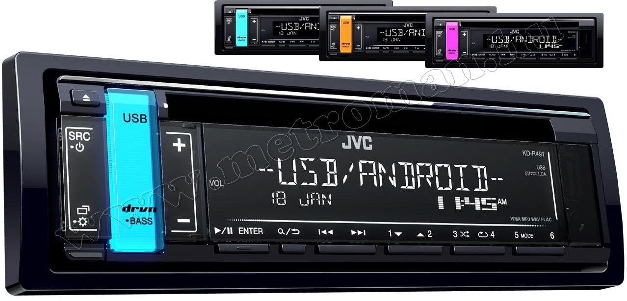 CD-s autórádió változó színű háttérvilágítással JVC KD-R491