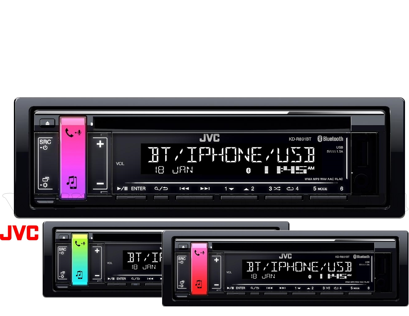 Bluetooth/CD/USB/MP3 autórádió,  JVC KD-R891BT