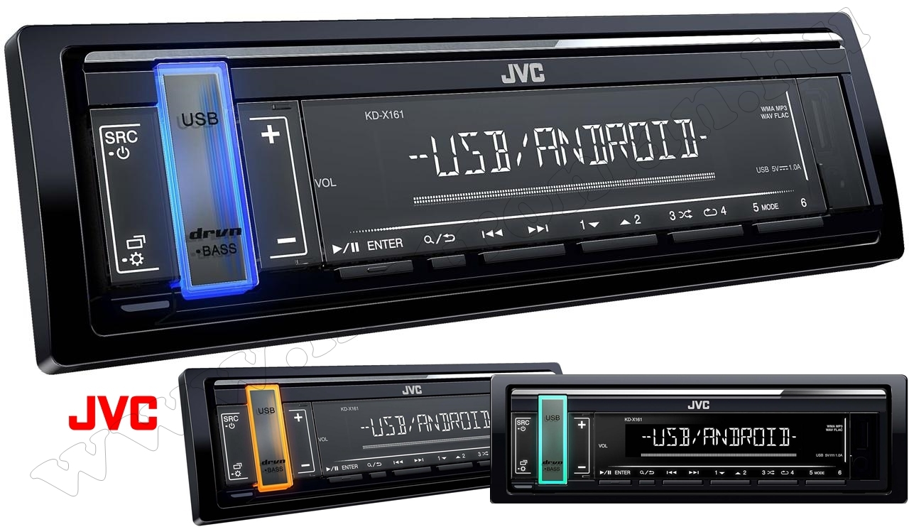USB/AUX/MP3 autórádió JVC KD-X161