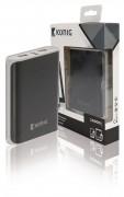 Külső mobil akkumulátor, USB töltő, 10000 mAh KNPB10000BL