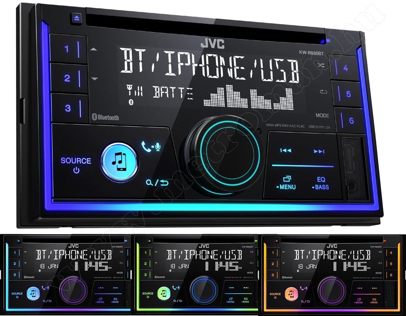 CD/USB autórádió Bluetooth kihangosítóval 2 DIN JVC KW-R930BT