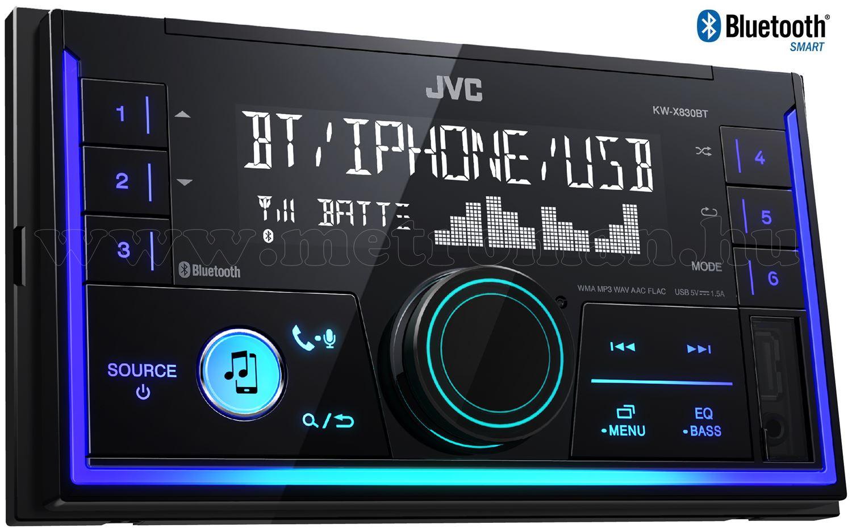Bluetooth USB/AUX autórádió 2 DIN JVC KW-X830BT