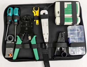 Hálózatépítő kábel szerelő vizsgáló műszer és szerszám csomag M85B
