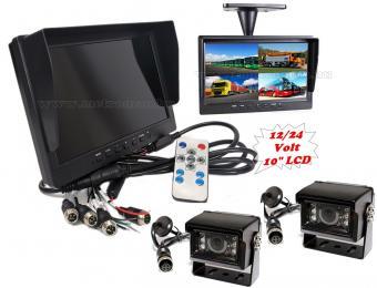 """Kamion, teherautó, targonca, munkagép ipari tolatókamera szett 10""""-os QUAD LCD monitorral MM3695-QUAD-MT554X2"""