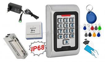 Komplett Kártyás és kódzáras Beléptető szett mágneszárral RFID M-8EMW EX IP68