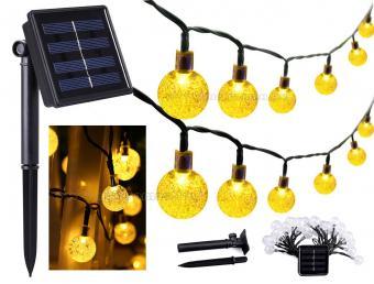 Kültéri napelemes LED fényfüzér, kerti hangulat világítás, karácsonyi LED égősor, Meleg Fehér MLED30-SOLAR-WW