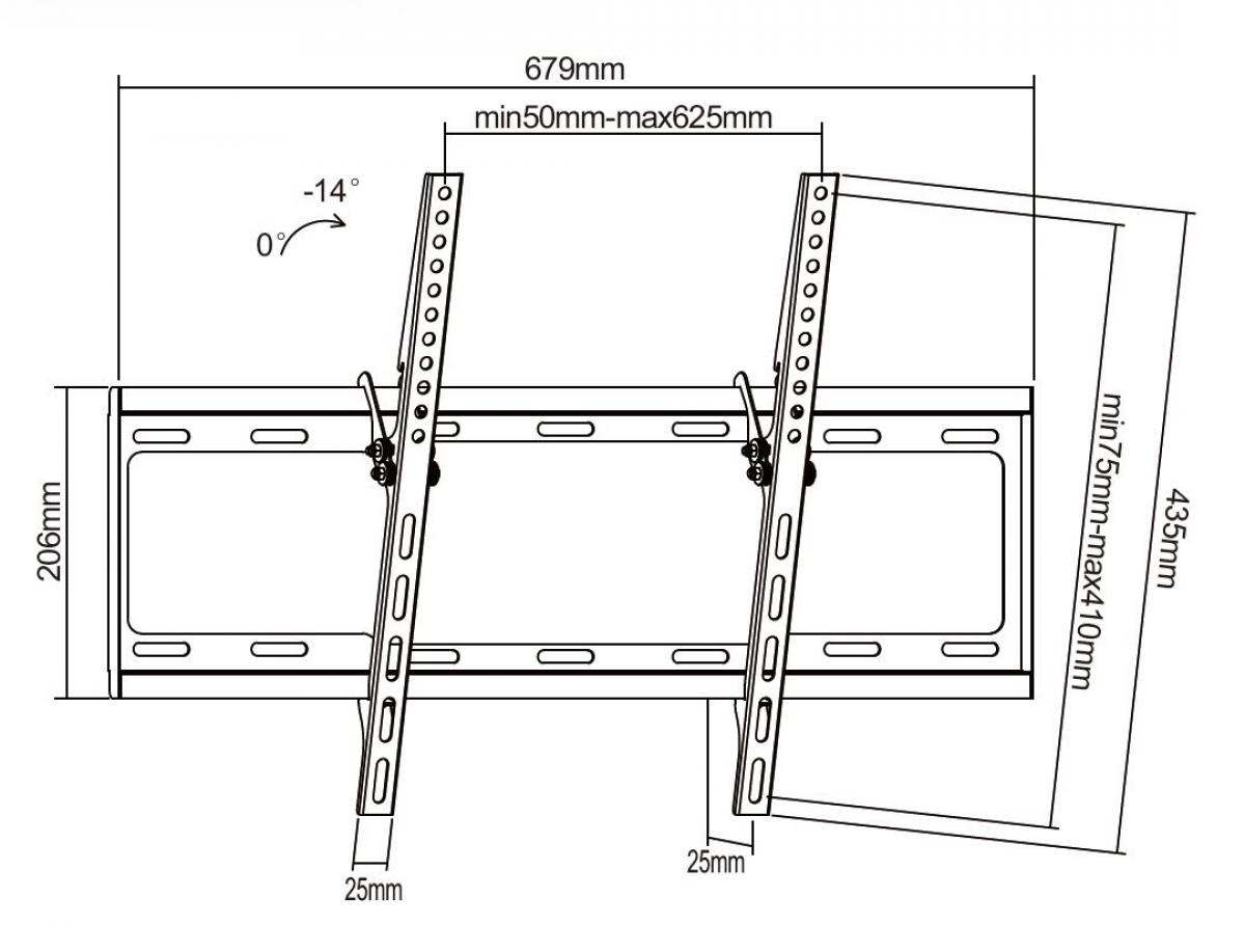 """LCD LED TV tartó fali tartó konzol 37-70"""" M0155"""