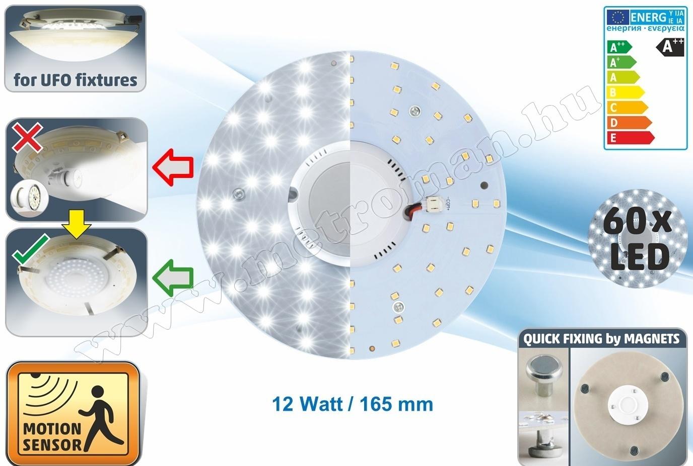 Ledmodul mozgásérzékelővel lámpatesthez LMS12-165M