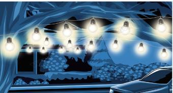 Gömb izzó formájú, kültéri LED fényfüzér LP 20 WW