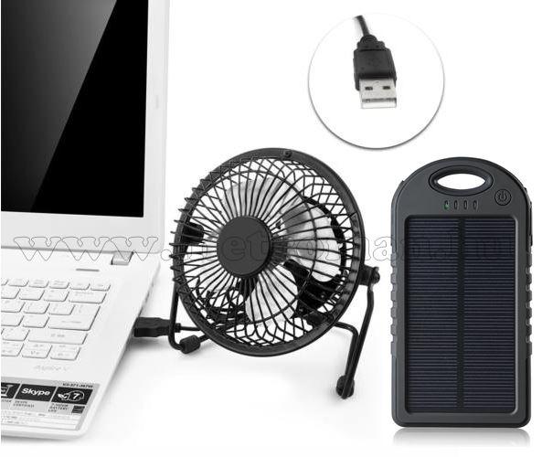 USB-s asztali ventilátor napelemes akkubankkal M0494-0657