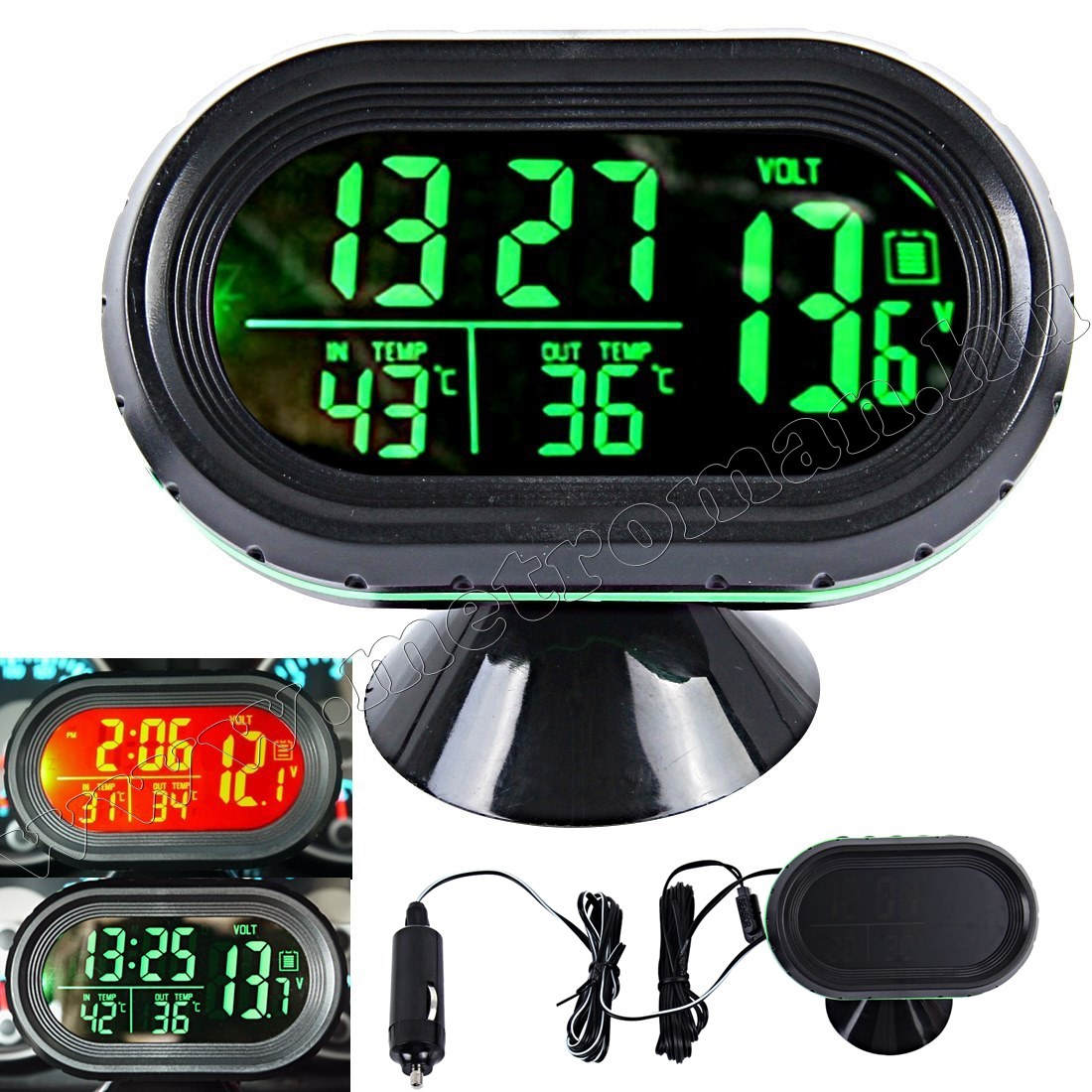 Digitális autós LCD külső-belső hőmérő és óra Voltmérővel M7009V