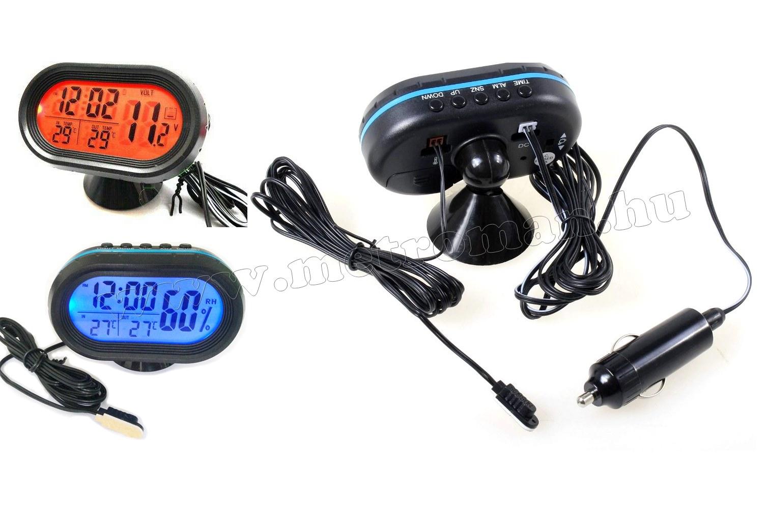 Digitális autós LCD külső-belső hőmérő és óra Voltmérővel M7009VK