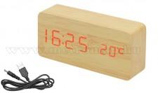 LED kijelzős, fa mintázatú asztali óra M7037