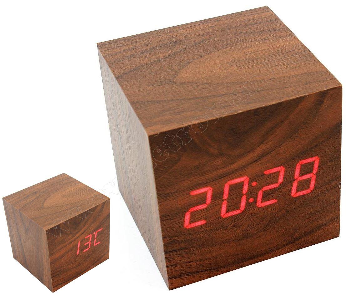LED kijelzős ébresztőóra fa mintával MG2D