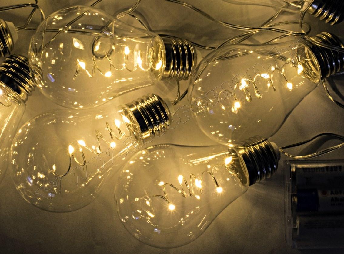Körte izzó formájú, elemes LED fényfüzér ML 10 GLOBE