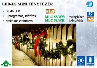 Karácsonyi, elemes LED égősor, mini Fényfüzér, MLC 58/WW Meleg Fehér