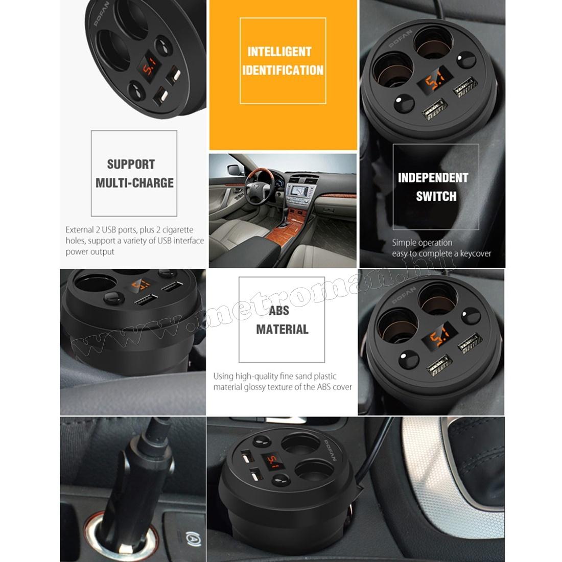 Autós Szivargyújtó elosztó pohártartóba USB töltővel és Voltmérővel MM-1230
