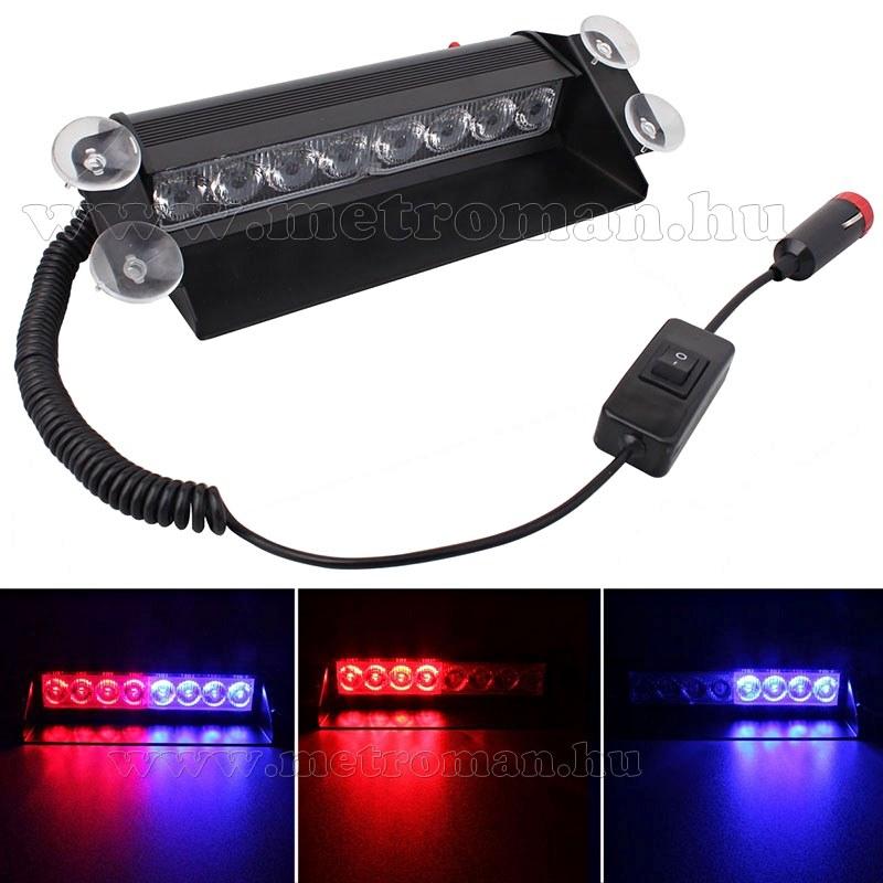 Autós Piros-Kék stroboszkóp LED villogó szélvédőre, Mlogic MM-3343RB