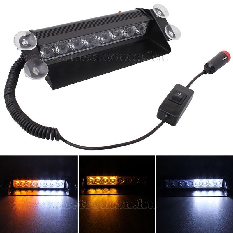 Autós Sárga-Fehér stroboszkóp LED villogó szélvédőre, Mlogic MM-3343B