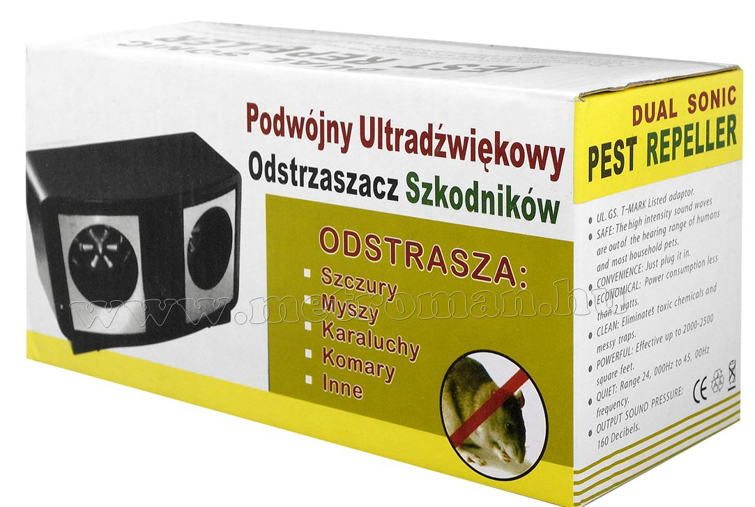 Elektromos ultrahangos nyest, patkány, egér riasztó MM-OG02