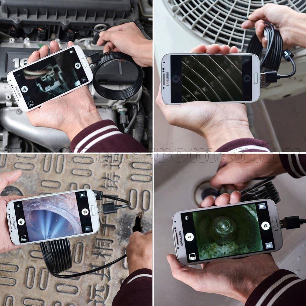 Vízálló USB Android endoszkóp kamera LED világítással MN-003