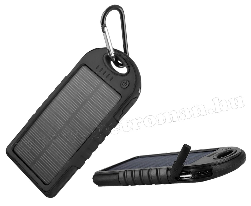 Napelemes külső akkumulátor és telefontöltő, 5000 mA MS14