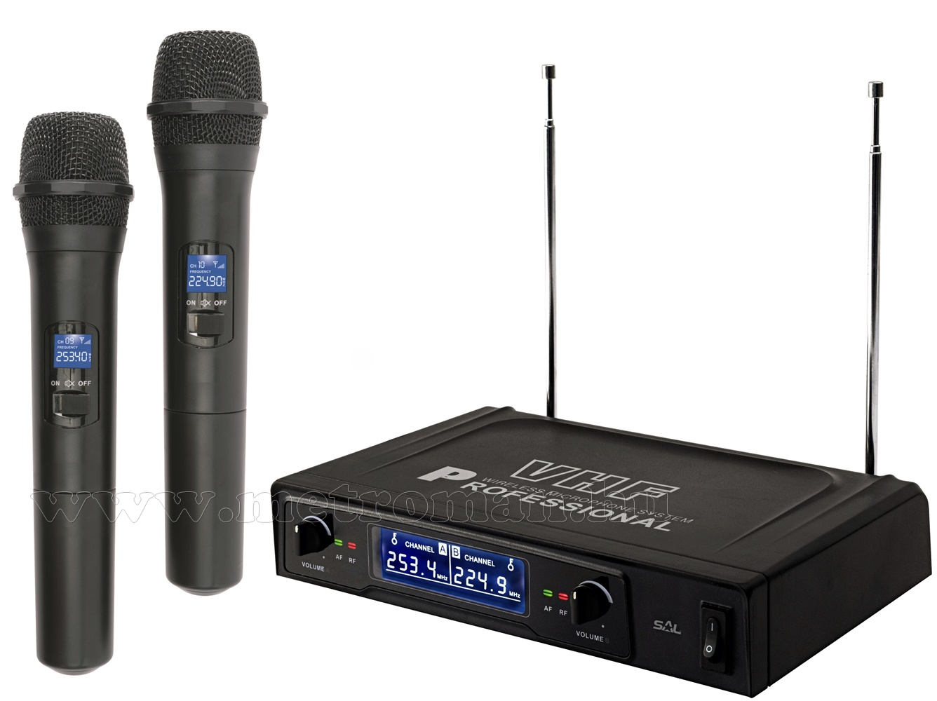 Vezeték nélküli mikrofon, 2 db kézi mikrofonnal MVN 500