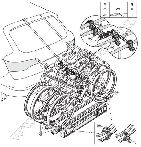Autós kerékpártartó, kerékpárszállító vonóhorogra, Menabo Race 4