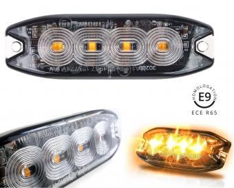 Nagy fényerejű E-jeles autós LED stroboszkóp villogó, megkülönböztető jelzés MM2298LED-PRO-E9 Narancs Sárga