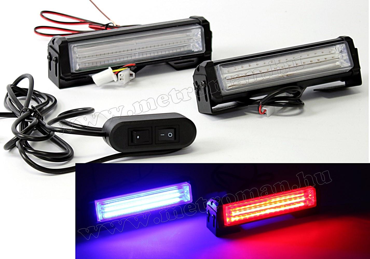 Autós Kék-Piros stroboszkóp COB LED villogó, megkülönböztető jelzés Mlogic ML1-COB/BR PRO