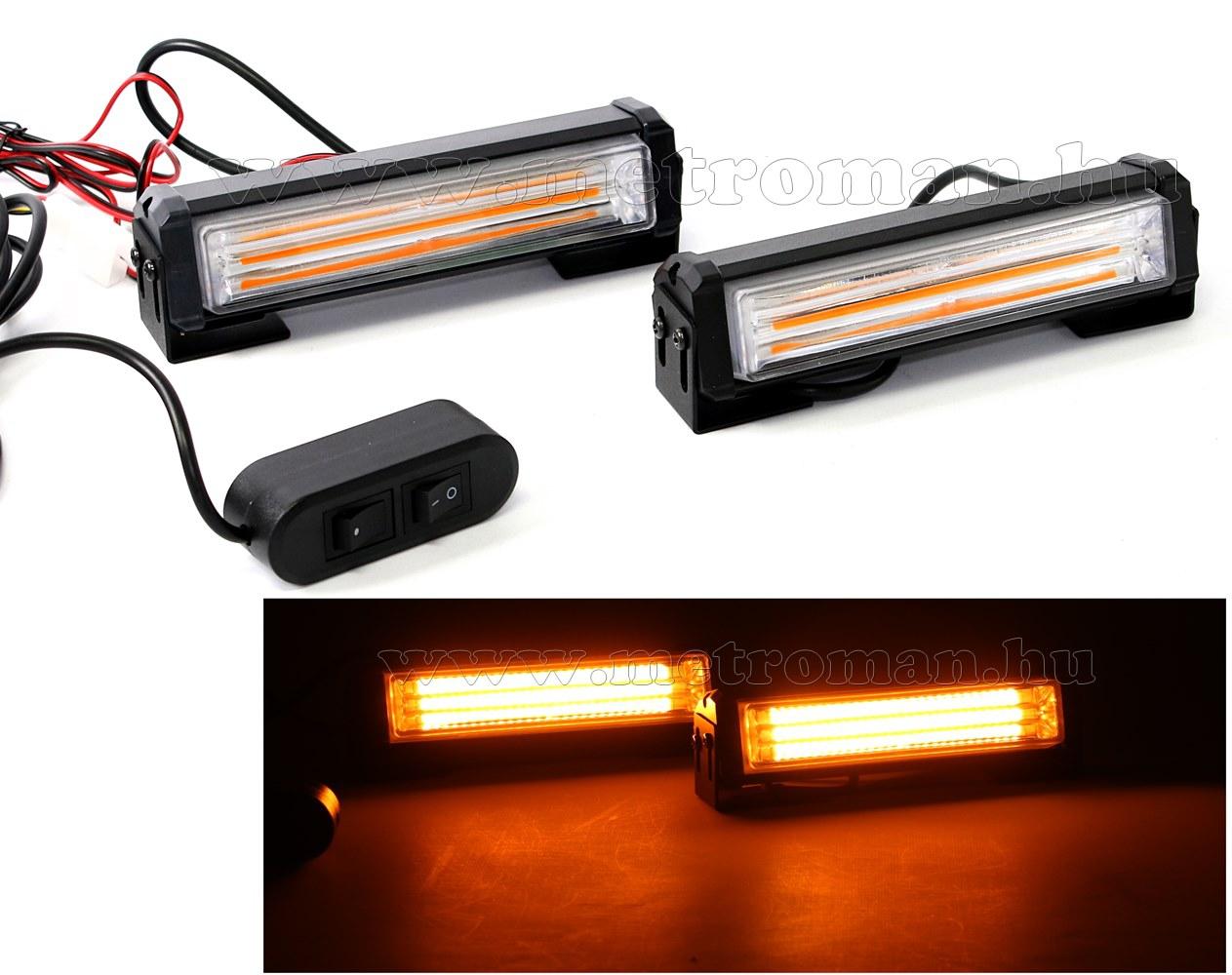 Autós Narancs Sárga stroboszkóp COB LED villogó, megkülönböztető jelzés Mlogic ML1-COB/Y PRO