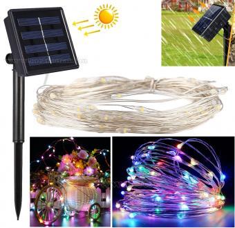 Napelemes Karácsonyi micro LED égősor, Kerti Fényfüzér, Kültéri, MM1393LED Színes