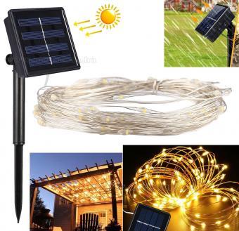 Napelemes Karácsonyi micro LED égősor, Kerti Fényfüzér, Kültéri, MM1397LED Meleg Fehér