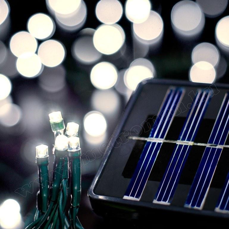 Napelemes Karácsonyi LED égősor, Kerti Fényfüzér, Kültéri, M0304 Hideg Fehér