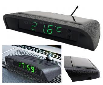 Autós napelemes digitális hőmérő és óra MM966201A-Solar