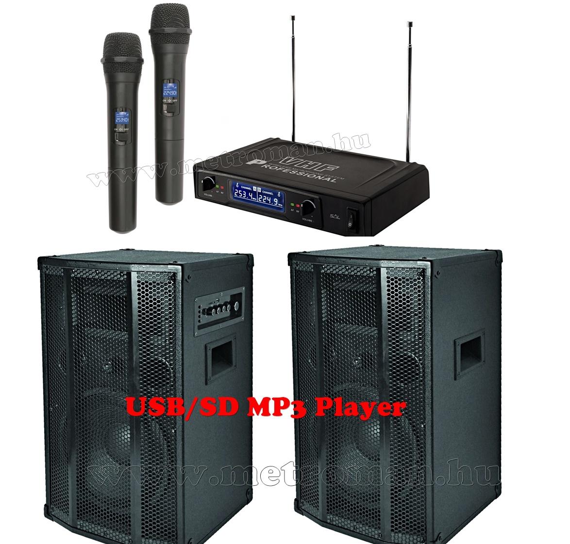 Karaoke szett, komplett, beépített erősítős aktiv hangfalpár, duál vezeték nélküli mikrofonnal, PAX25-MVN500