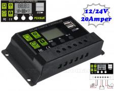 Napelem töltésvezérlő 12-24V 20A MM21092PWM