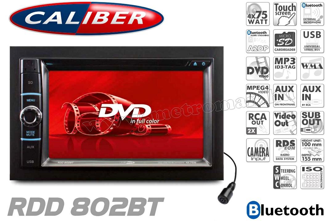 2DIN DVD/USB/SD Bluetooth autórádió fejegység LCD monitorral Caliber RDD 802 BT