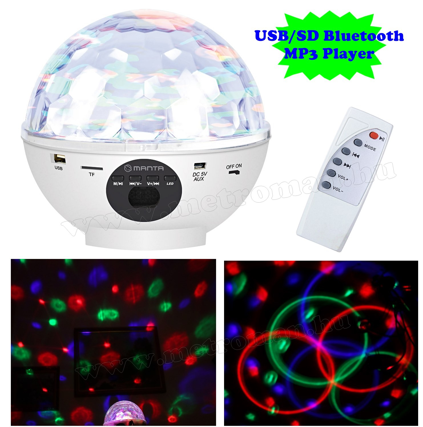 RGB LED Magic diszkó gömb és USB/SD Bluetooth MP3 lejátszó MDL 012 BT