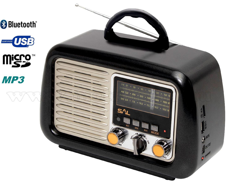 Retro táskarádió és multimédia lejátszó, MP3, Bluetooth, USB/MicroSD RRT2B